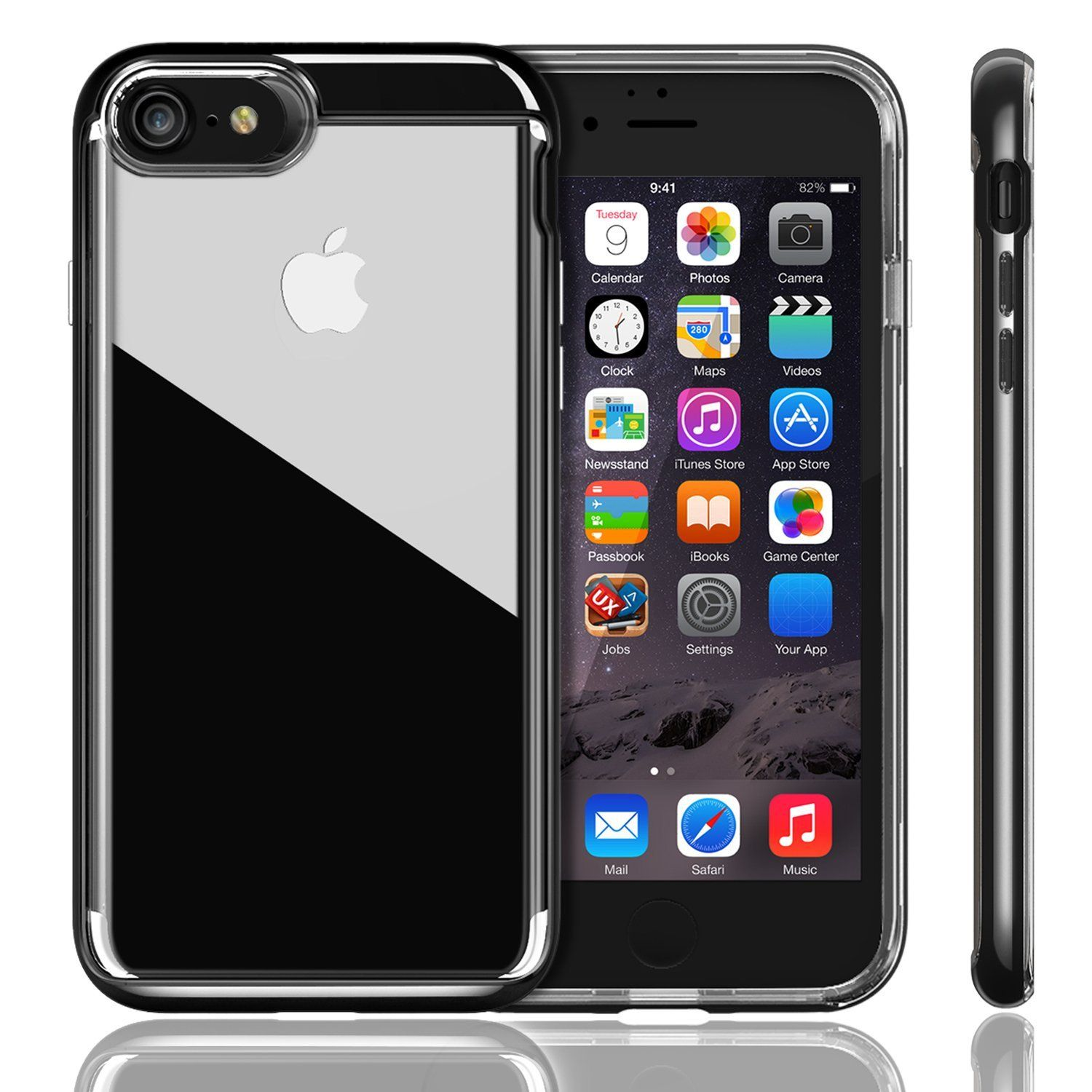 Amazon Com Iphone 7 Case Ivapo Crystal Series Transparent Clear Iphone 7 Cover Enhanced Grip Bright Black Iphone Black Iphone 7 Plus Iphone 7 Plus Cases