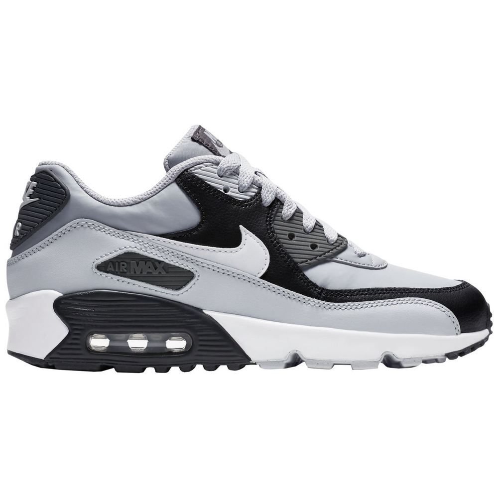 newest 383ec 68fb6 Nike Air Max 90 Wolf Grey White Youth Leather Low-Top Sneakers Trainers    eBay