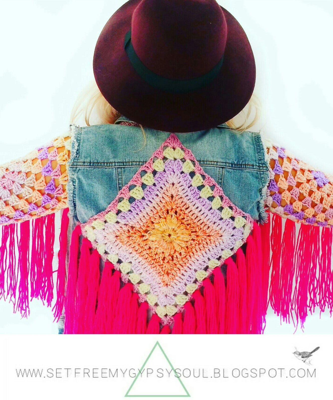 Fringed Crochet Denim Jacket Refashion | Fashion DIY Tutorial  Free Crochet Pattern