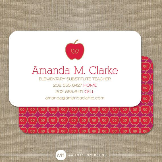 Teacher business card calling card mommy card contact card teacher business card calling card mommy card contact card teacher substitute teacher tutor instructor business cards flashek Gallery