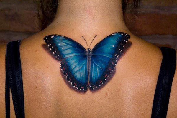 Bleu Graphique Modèle Papillon Photo Tatouage Tattoo