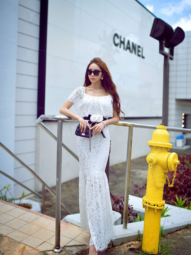 White Lace Hem Belted Flare Long Dress - Morpheus Boutique