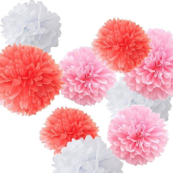 18pcs Mixed Coral Pink White Tissue Paper Pom Poms Flower Ball for Weddings Birthday Baby Showers Pa