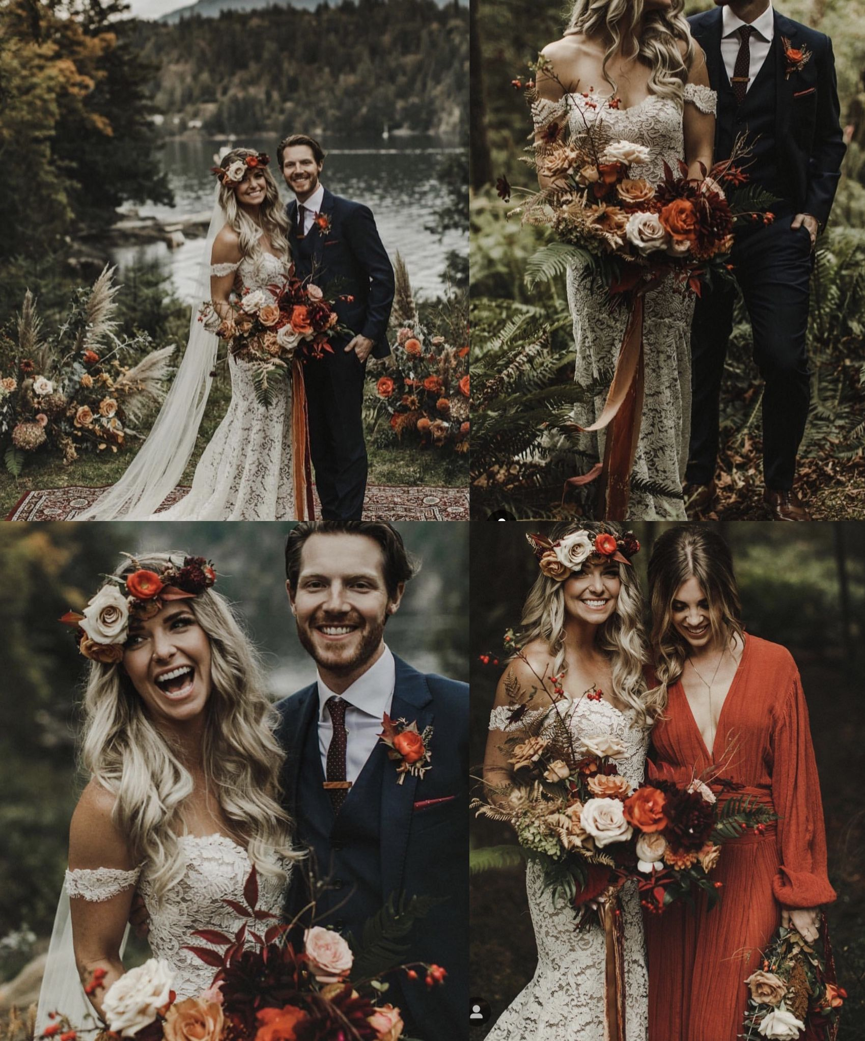 Burnt orange boho wedding 🧡🍂🍁🦊  Fall wedding colors, October