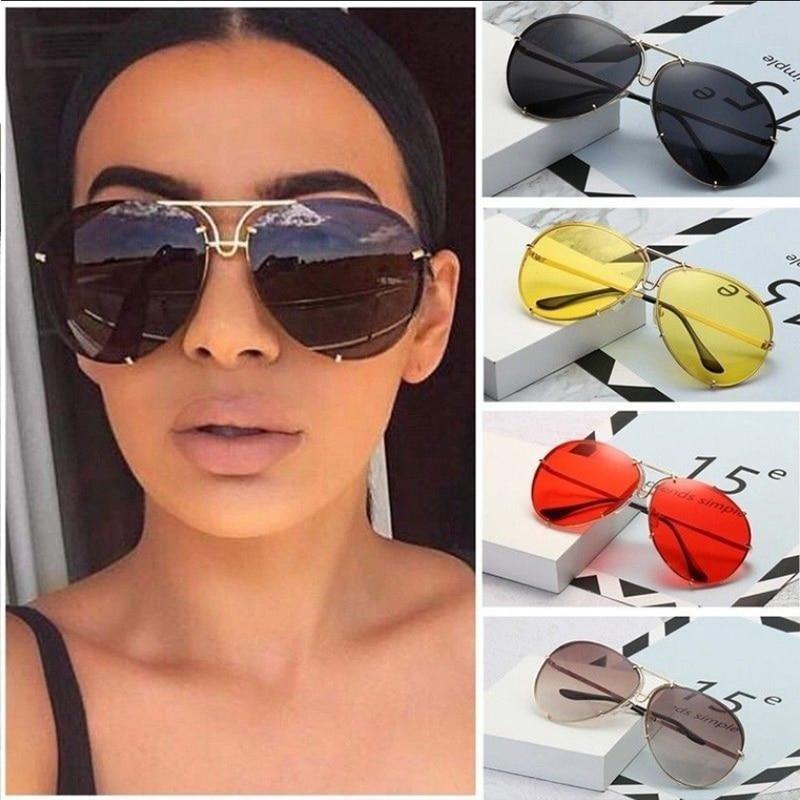 40bbf4f4938 Red Sunglasses women Silver Mirror Oversized Metal luxury Sunglasses Ladies  Big Gradient Shades