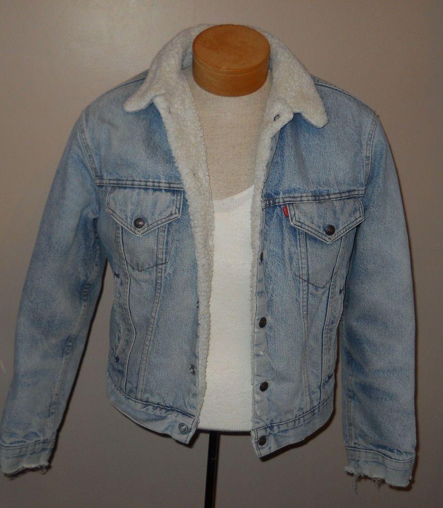Levi S Sherpa Lined Blue Denim Jean Jacket Mens 40 R Ragged Cuffs Well Worn Usa Denim Coat Jacket Denim Jean Jacket Blue Denim Jeans [ 1000 x 872 Pixel ]