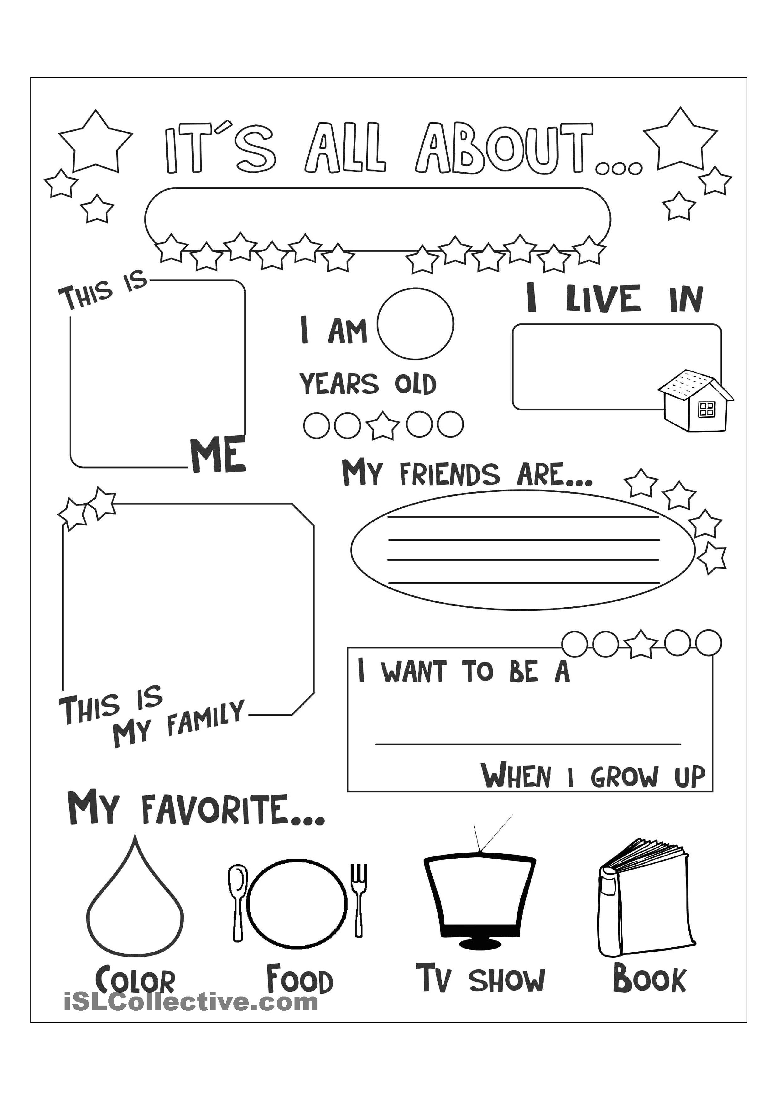 All About Me English Pinterest Worksheets Printable