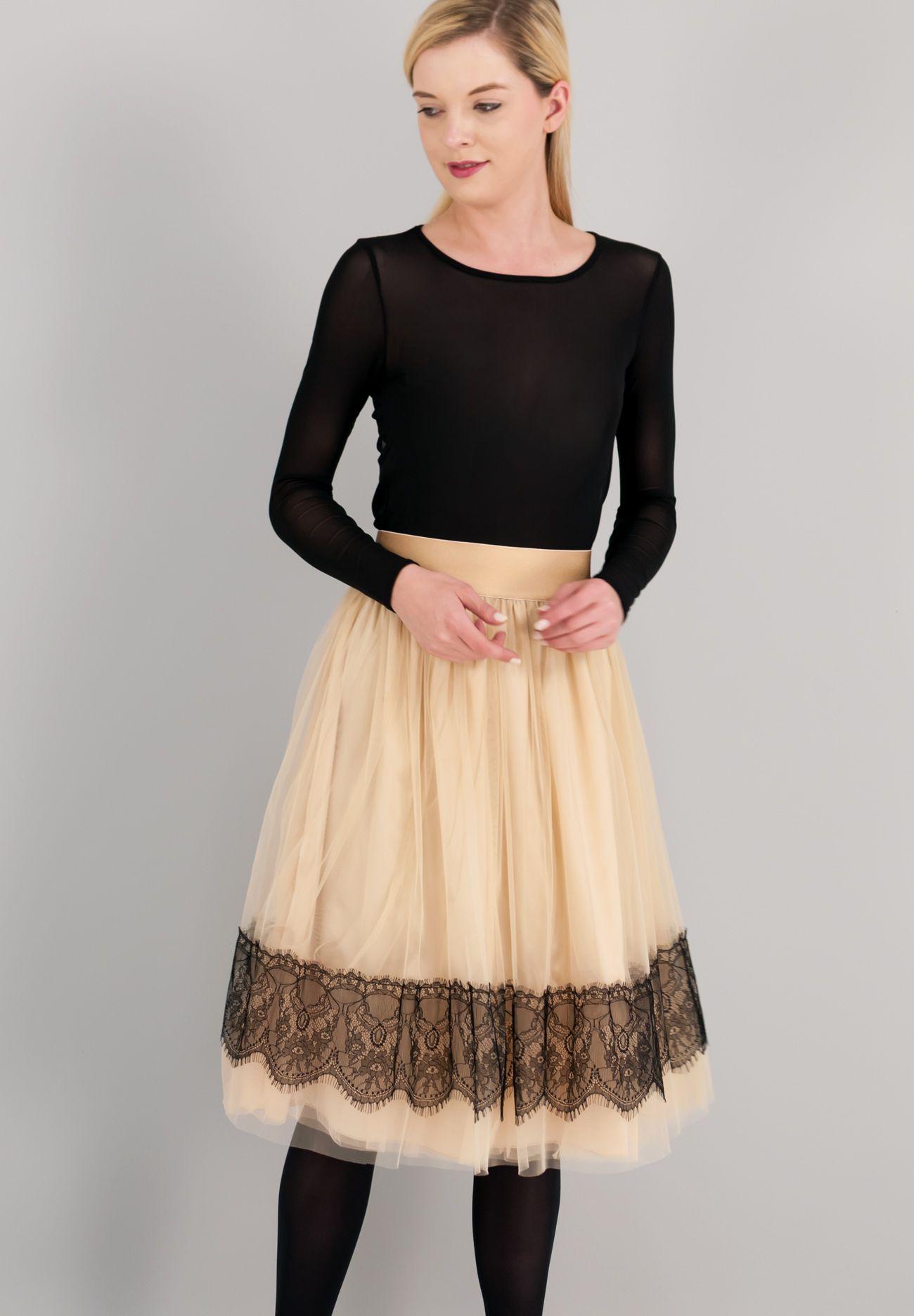 3ed4d138fdb Μίντι φούστα σε στυλ μπαλαρίνας με λεπτομέρεια από δαντέλα ...