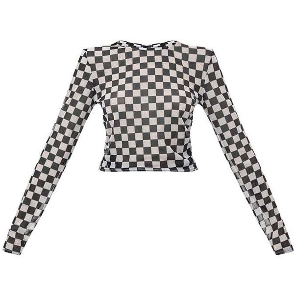 5dbee0752a4229 Monochrome Motorcross Check Mesh Longsleeve Crop Top ( 21) ❤ liked on  Polyvore featuring tops