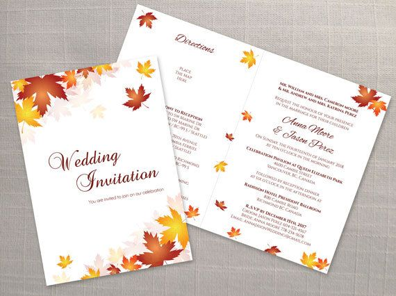 DIY Printable Wedding Folded Invitation Card Template Editable - invitation templates for microsoft word