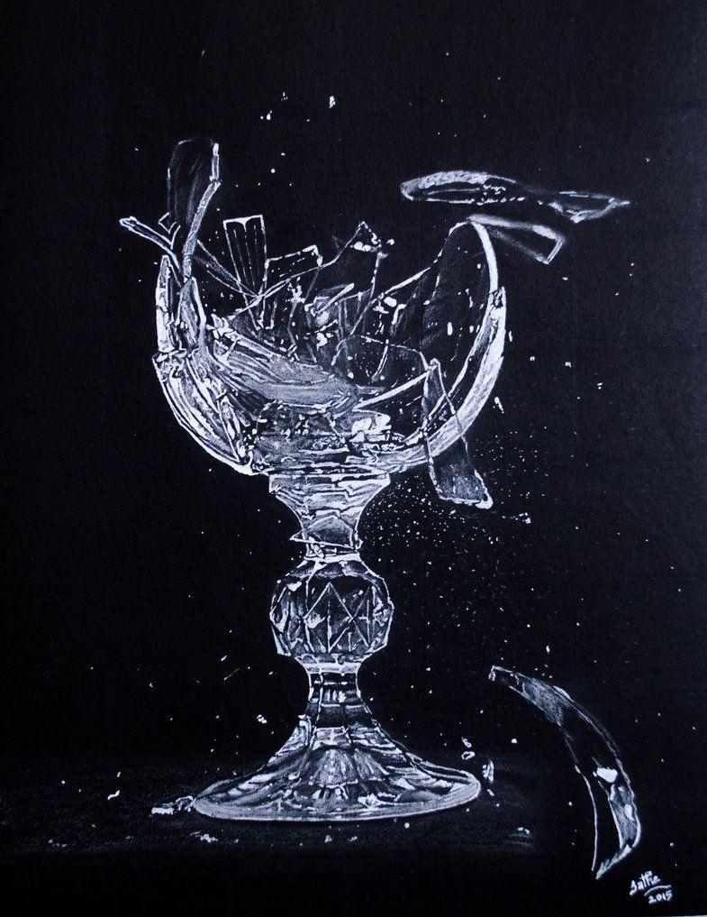 Broken Glass By Sathewins Broken Glass Art Broken Glass Wallpaper Black Paper Drawing