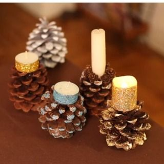 How to Make Pine Cone Candle Holders. Would be cool with flameless tealights