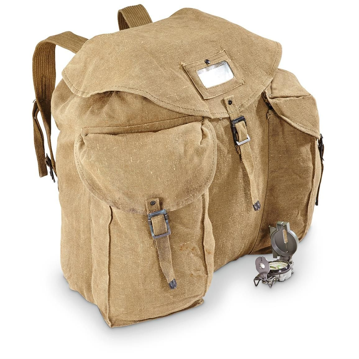 1369f0156 Italian Military Surplus Cotton Canvas XL Rucksack/Backpack With Locking  Chain, Used - Material: Cotton canvas, metal hardware Size: 18