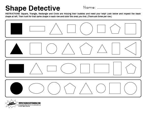 Shape Detective Worksheet Paging Supermom Shapes Worksheet Kindergarten Printable Preschool Worksheets Kids Math Worksheets