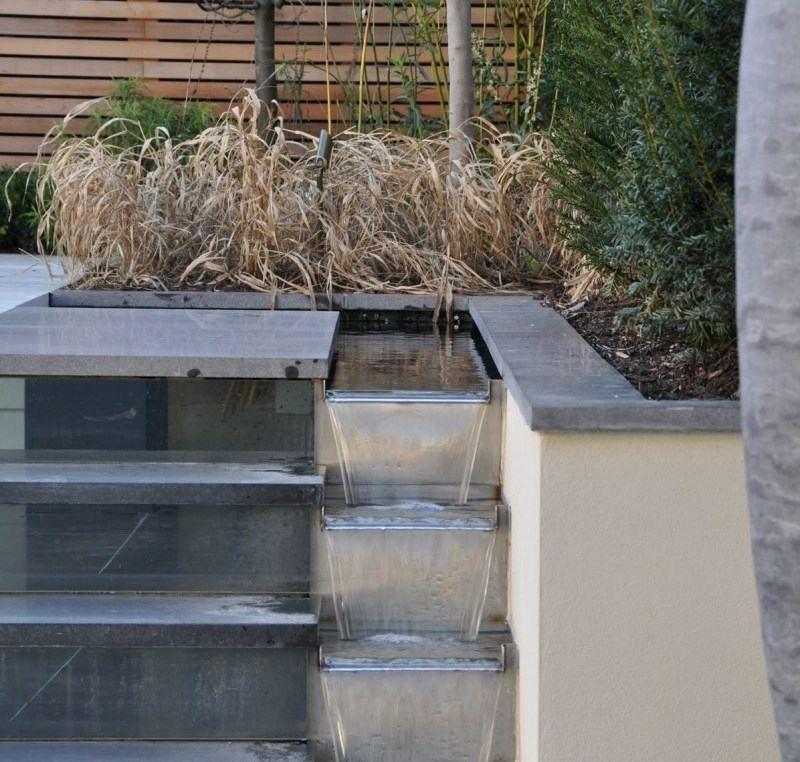 Wasserfall neben der Gartentreppe garten Pinterest