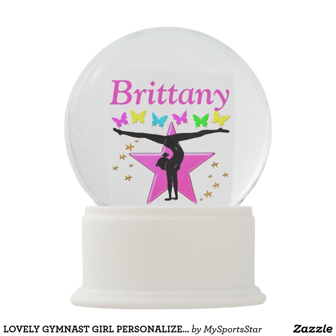 Lovely Gymnast Girl Personalized Snow Globe Zazzle Com Personalised Snow Globes Snow Globes Girl Personalized
