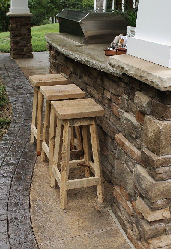 RustIc Bar Stool Reclaimed Barn Wood Raw W Square Top By Keeriah
