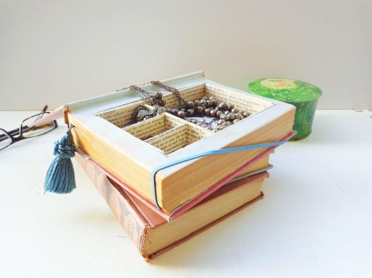 aus dem alten buch einen schmuckkasten basteln upcycling pinterest basteln schmuck und. Black Bedroom Furniture Sets. Home Design Ideas