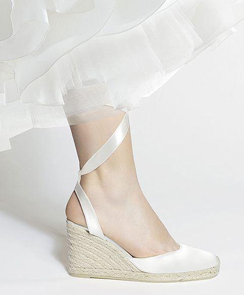 Catelyn alpargatas para novia con bonito diseño y cuña de 9 cm Wedding wedges by Eduard Castillo Barcelona