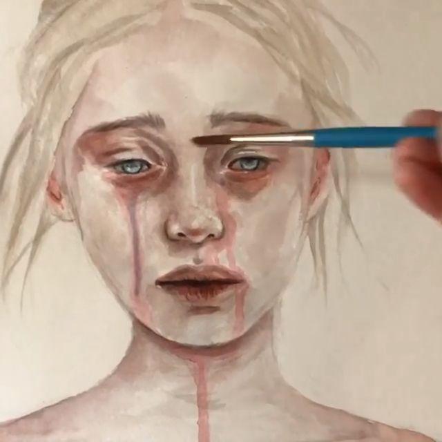 #crying 🖤 . Shop: perriewinkles.etsy.com . Follow: @perriewinkles_art . . . . . #art #artpage #artgallery #artistsoninstagram #artvideo #paintingvideo #drawing #painting #artvideos #artvideos #aquarelle #watercoloreye #realism #realisticart #artistatwork #artgram #artistvideo #eyes #eyepainting #eyes #watercoloring #tears #cryinggirl #sadart #darkart #deepart #emotionalart #perriewinkles