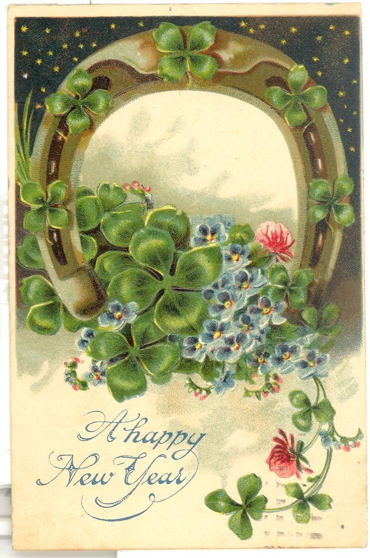Vintage Greetings Postcard Embossed Happy New Year Clover