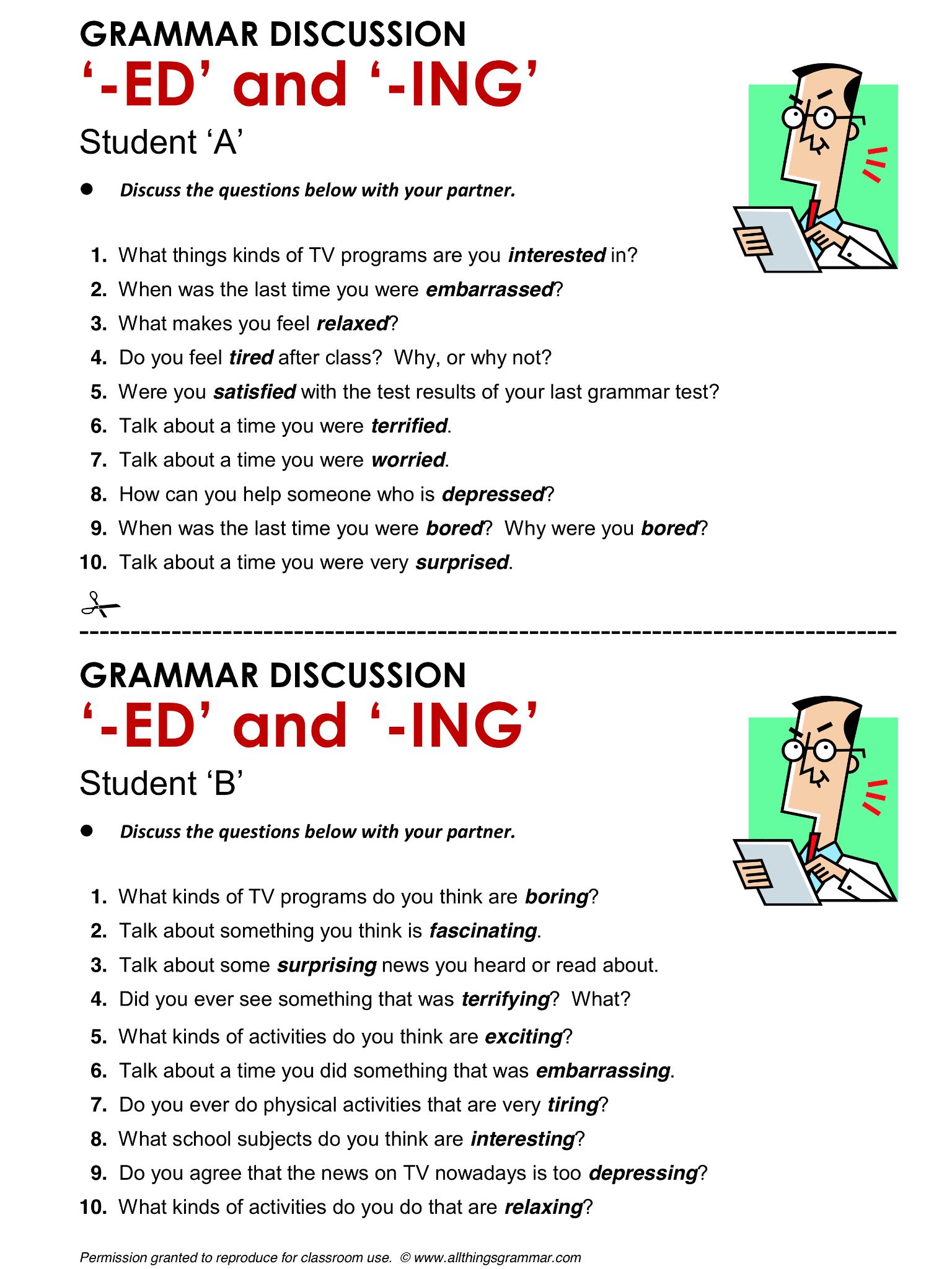 worksheet Ed Ing Worksheets english grammar participle adjectives ed vs ing www allthingsgrammar com