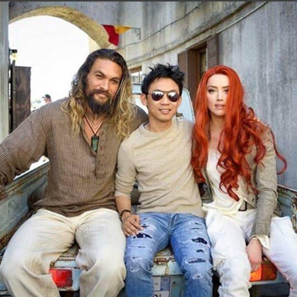 New Jason Momoa And Amber Heard Aquaman Image: Jason Momoa James Wan And Amber Heard On The Set Of