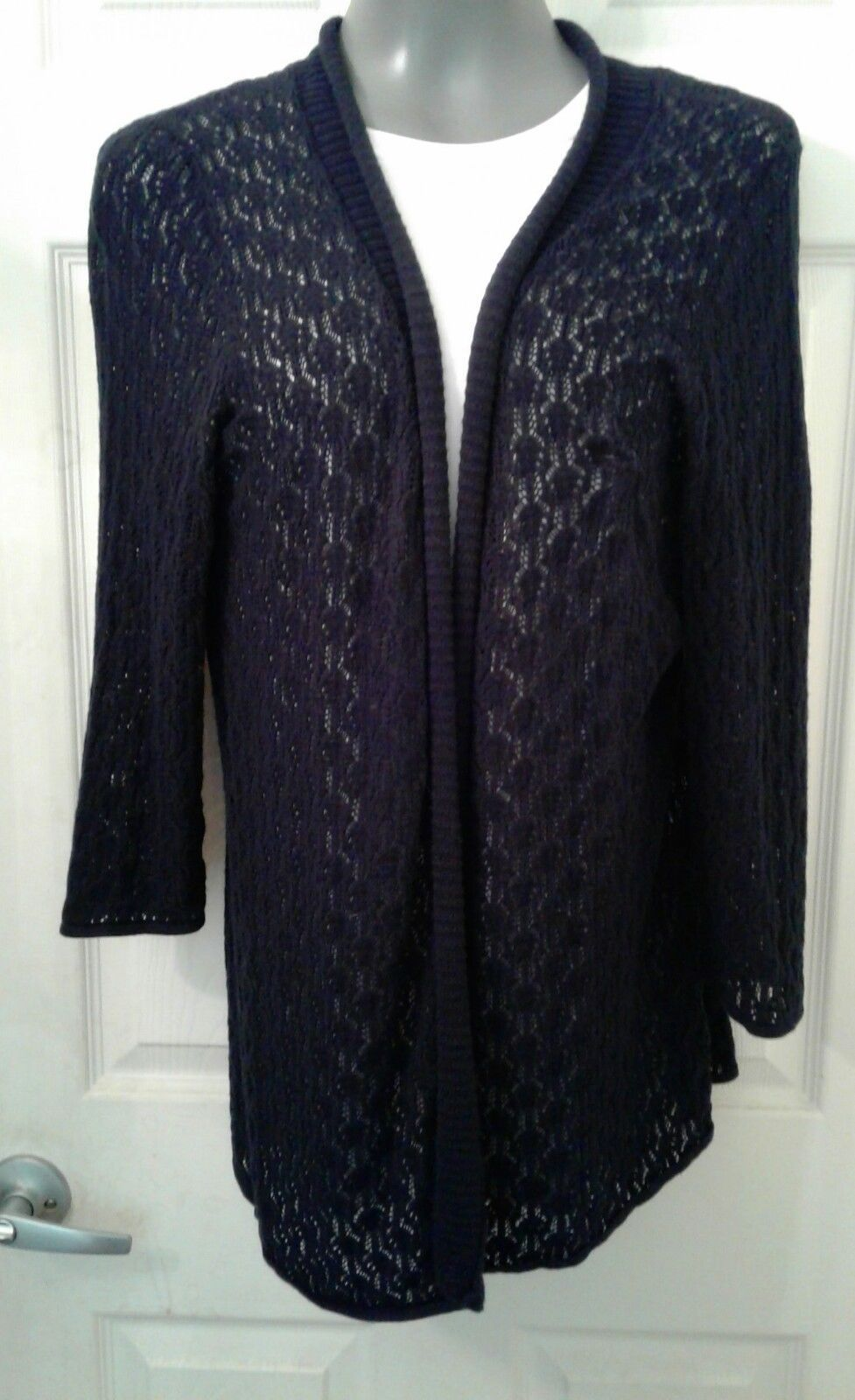 Womens Size L 212 Collection 3/4 Sleeve Black Open Front Cardigan ...