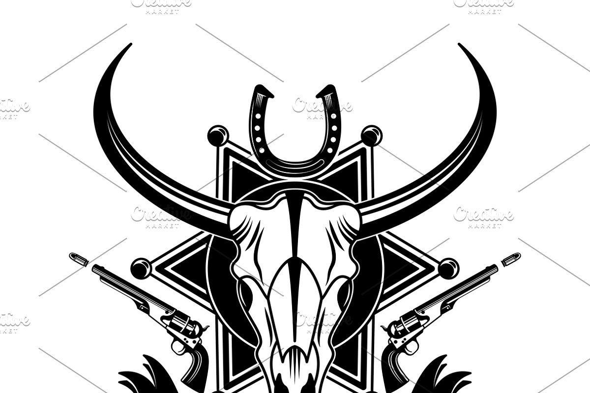 Cowboy animal skull emblem in 2020 Animal skulls