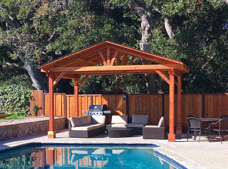 Del Norte Pavilion Options 17 X 11 Redwood 4 Post Kit For Concrete No Ceiling Fan Base Transpa Backyard Pavilion Outdoor Covered Patio Outdoor Pavilion