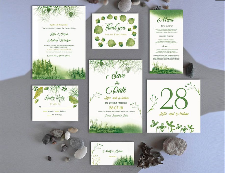 Free Forest Wedding Invitation Template Suite In Psd Now You Can Easily Create A P Free Wedding Templates Wedding Templates Free Wedding Invitation Templates