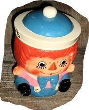 Rare Vintage Enesco RAGGEDY ANN/ANDY Cookie Biscuit Jar Imports from Japan