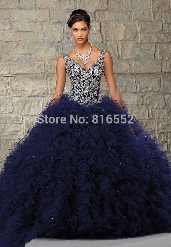 Find More Quinceanera Dresses Information about 2015 Elegant Navy ...