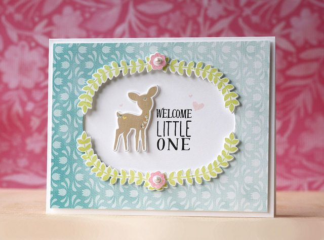 Welcome Little One Card by Laura Bassen for Papertrey Ink (April 2015)