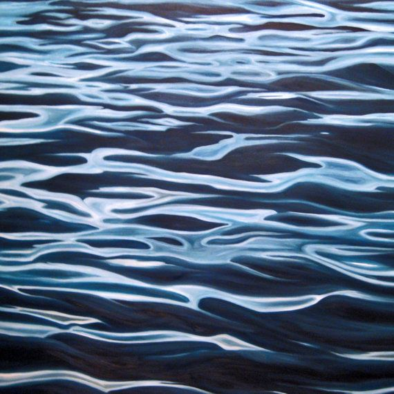 "Abstract Art Water Painting in Oil, 24"" x 24"" 