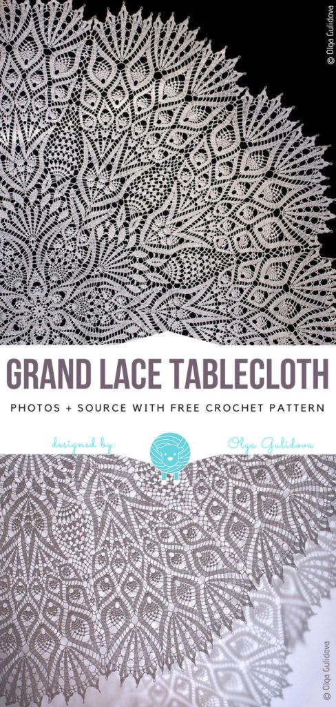 Grand Lace Tablecloth Free Crochet Pattern #irishlacecrochet