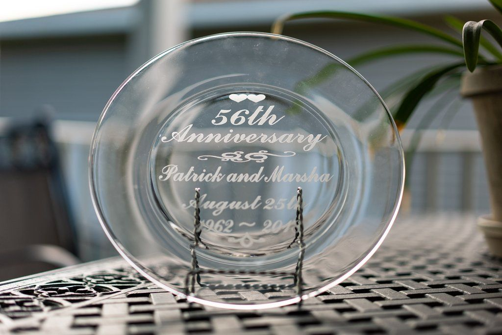 Etched Glass Anniversary Plate Personalized Anniversary Glass