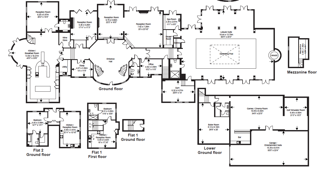 Copse Manor A 17 000 Square Foot Newly Built Mansion In Surrey Uk Floor Plans Mansion Floor Plan Winchester Mystery House