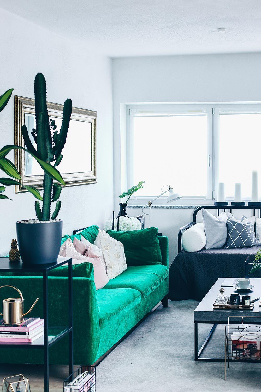 Unsere neue Wohnzimmer-Einrichtung in Grün, Grau und Rosa! | Top ...