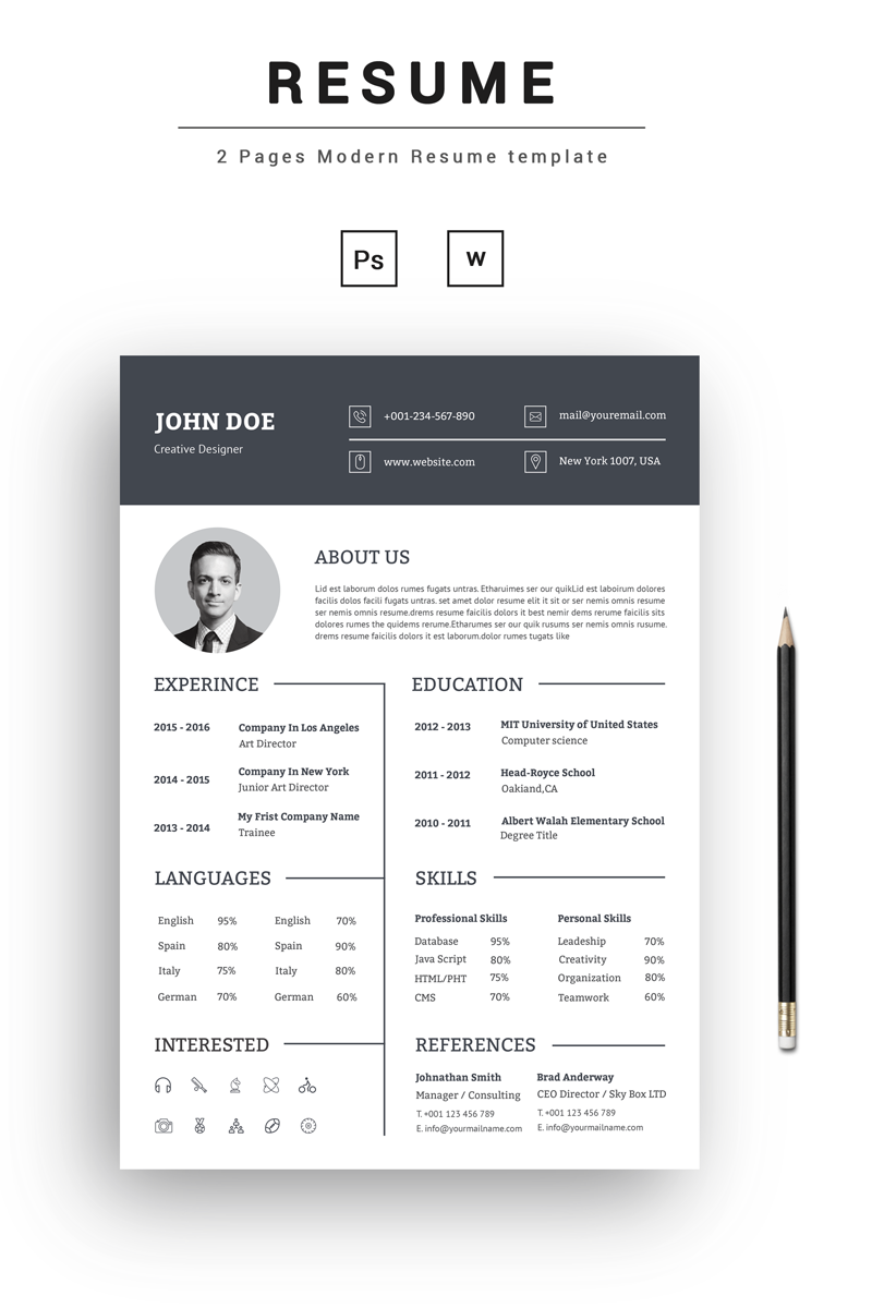 john doe creative resume template templates for website