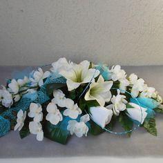 Centre De Table D Honneur Blanc Et Turquoise Fleurs