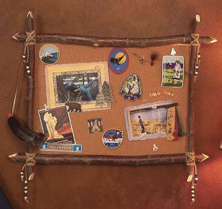 Rustic Bulletin Board: Tree Limbs, Leather Lacing, Beads
