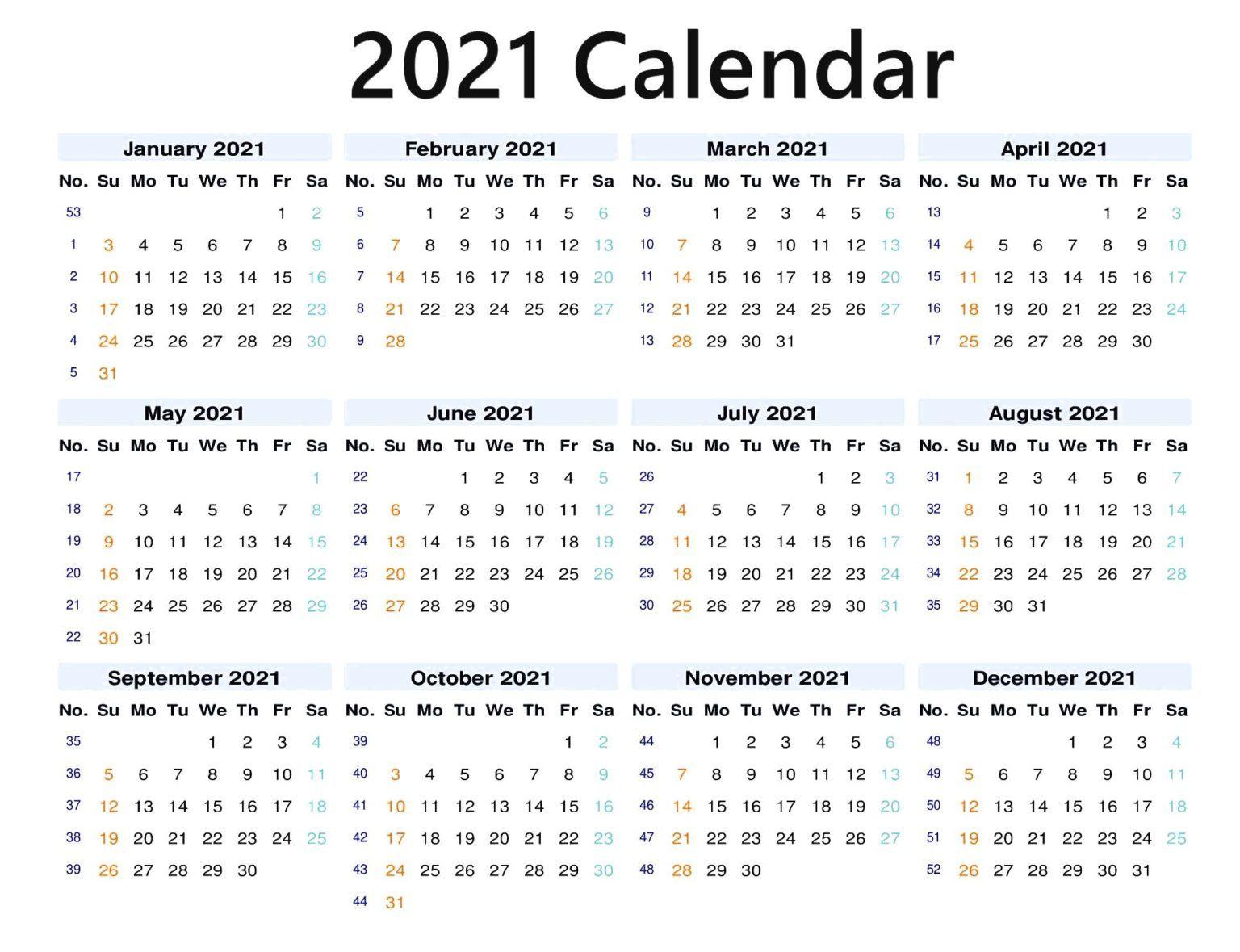 12 Months 2021 Blank Calendar in 2020 | 2021 calendar ...