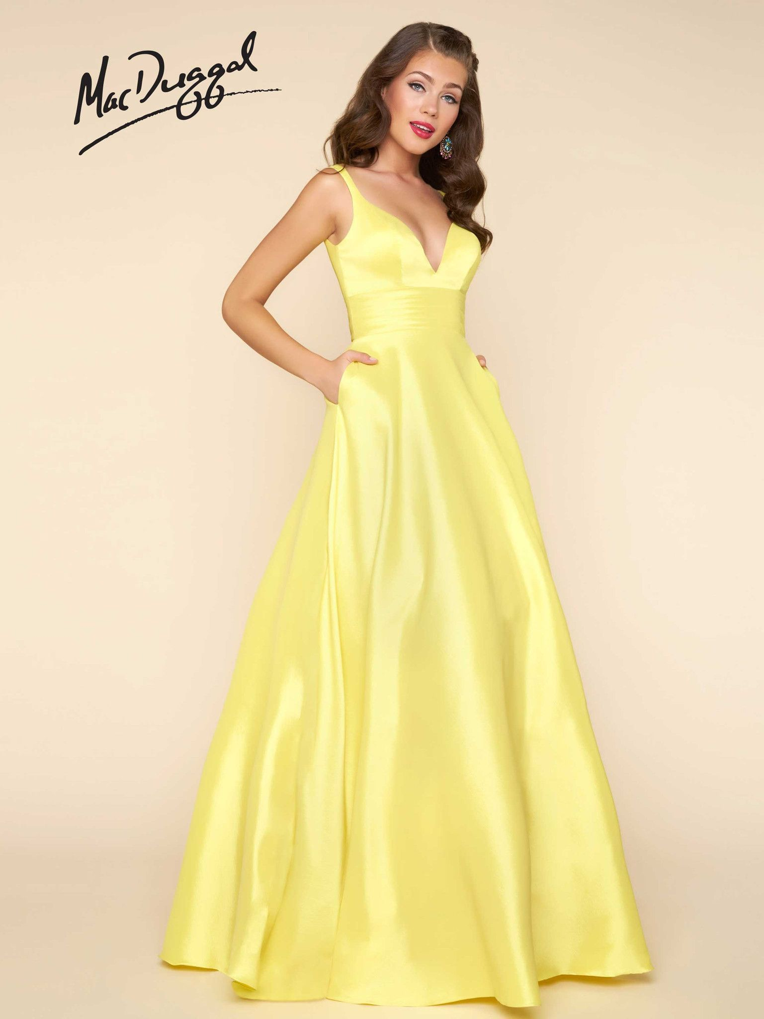 1c2d17e41114 ... V-neck, shiny satin fit and flare, floor length prom dress with open  back and pockets. Available in Red, Midnight & Lemon. Perfect for prom,  homecoming, ...