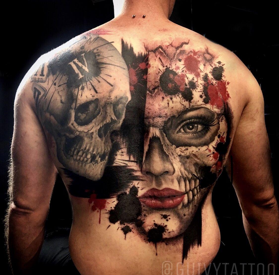 783e5a840b7f9 Guivy Tattoo - ART FOR SINNERS (Geneva - Geneve) #guivy #geneve #skull # tatouage #tattoos #trashpolka #skulls #blackwork #blackandred #woman  #portrait ...