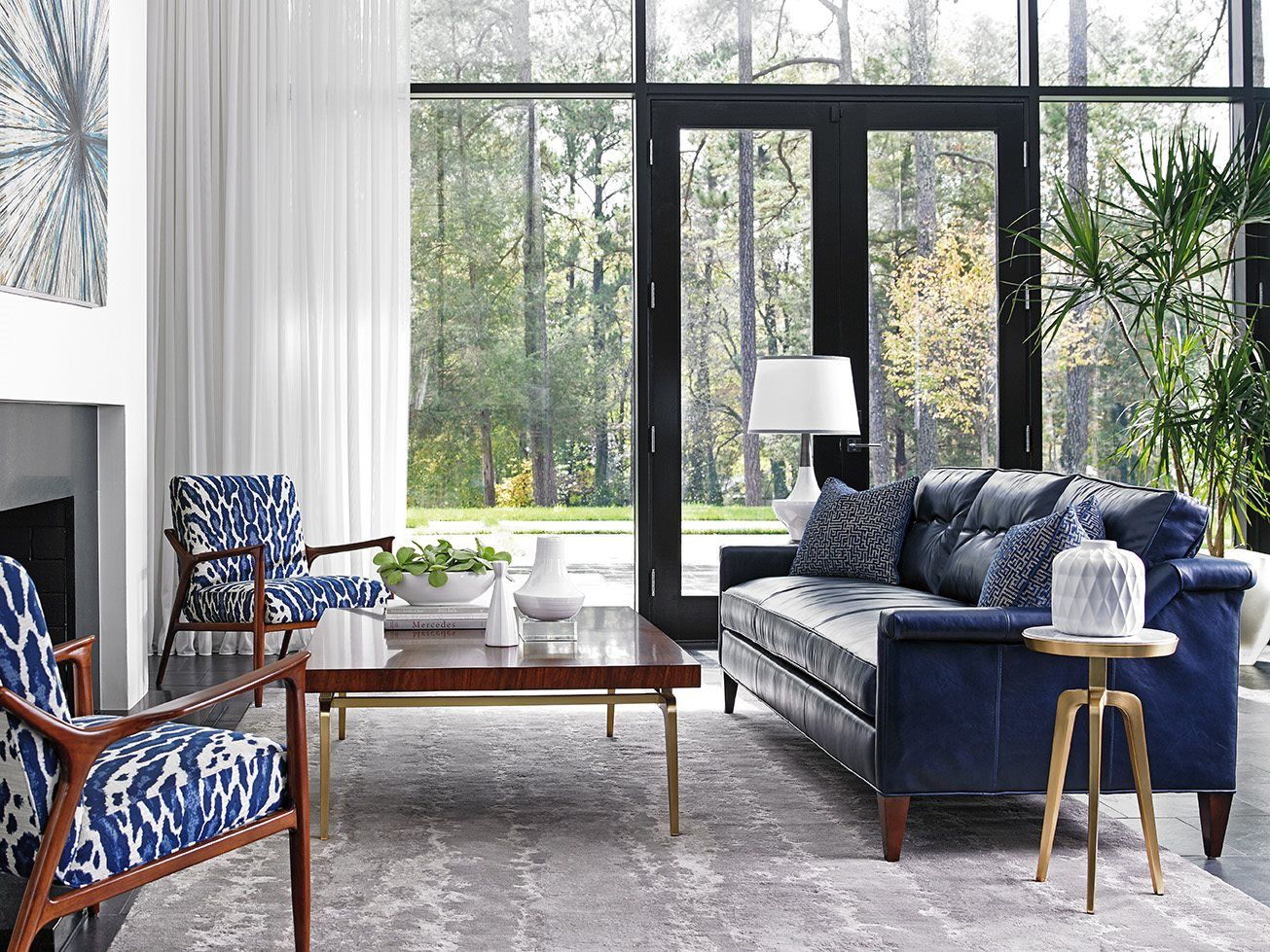 Blue Leather Living Room Sets With Brown Furniture Decorating Ideas Lexington Take Five Sofa Set Table Dream Home Idea For Sale Near Me