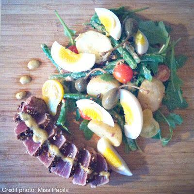 Salade style niçoise et thon en tataki