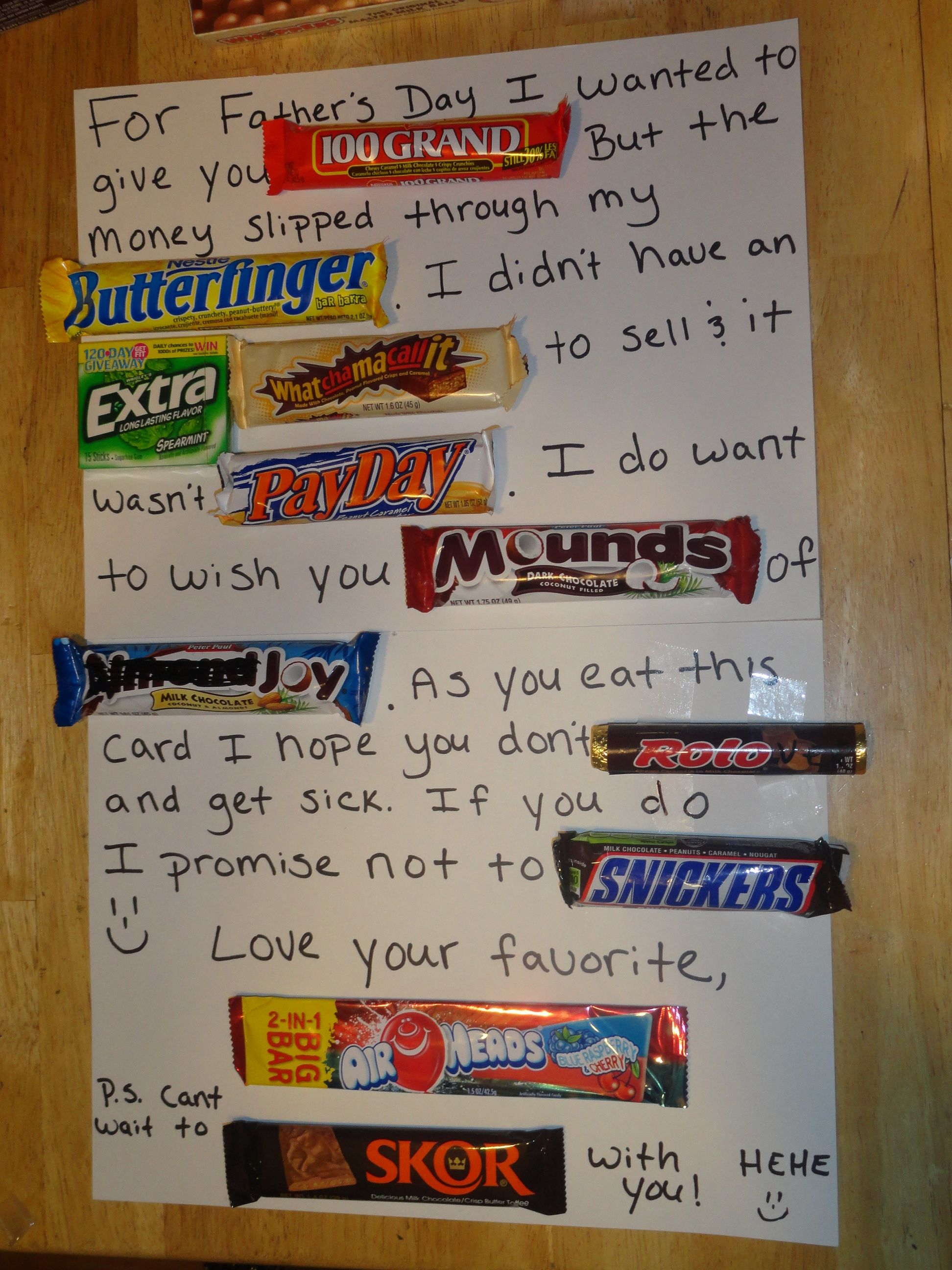 Candy Bar Card For Thank You, Father's/mother's Day