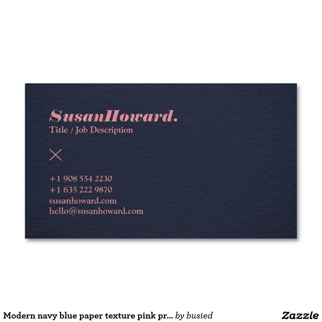Modern navy blue paper texture pink professional business card ...