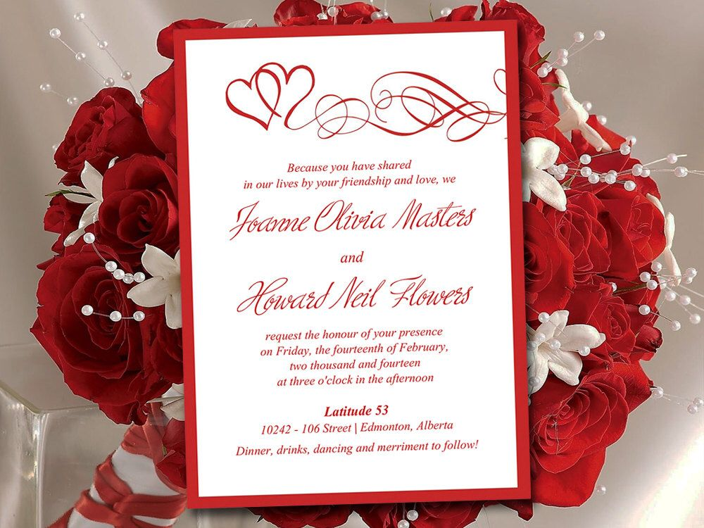 Heart wedding invitation template red wedding invitation card heart wedding invitation template red wedding invitation card double hearts wedding invitation instant download diy wedding template heart wedding solutioingenieria